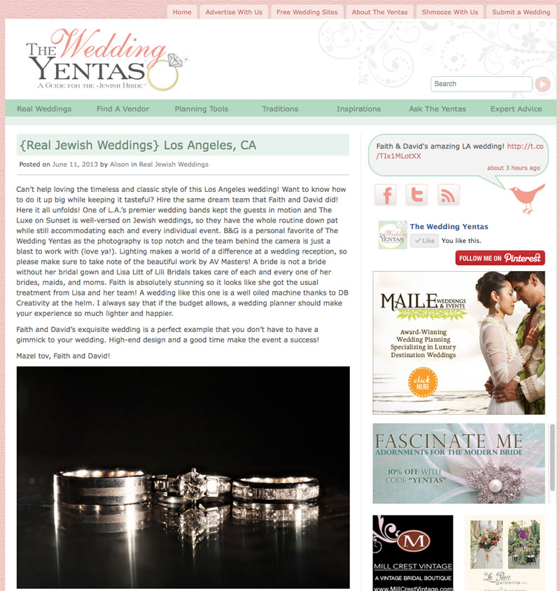 Faith & David's Luxe Sunset Hotel Wedding Featured on The Wedding Yenta's