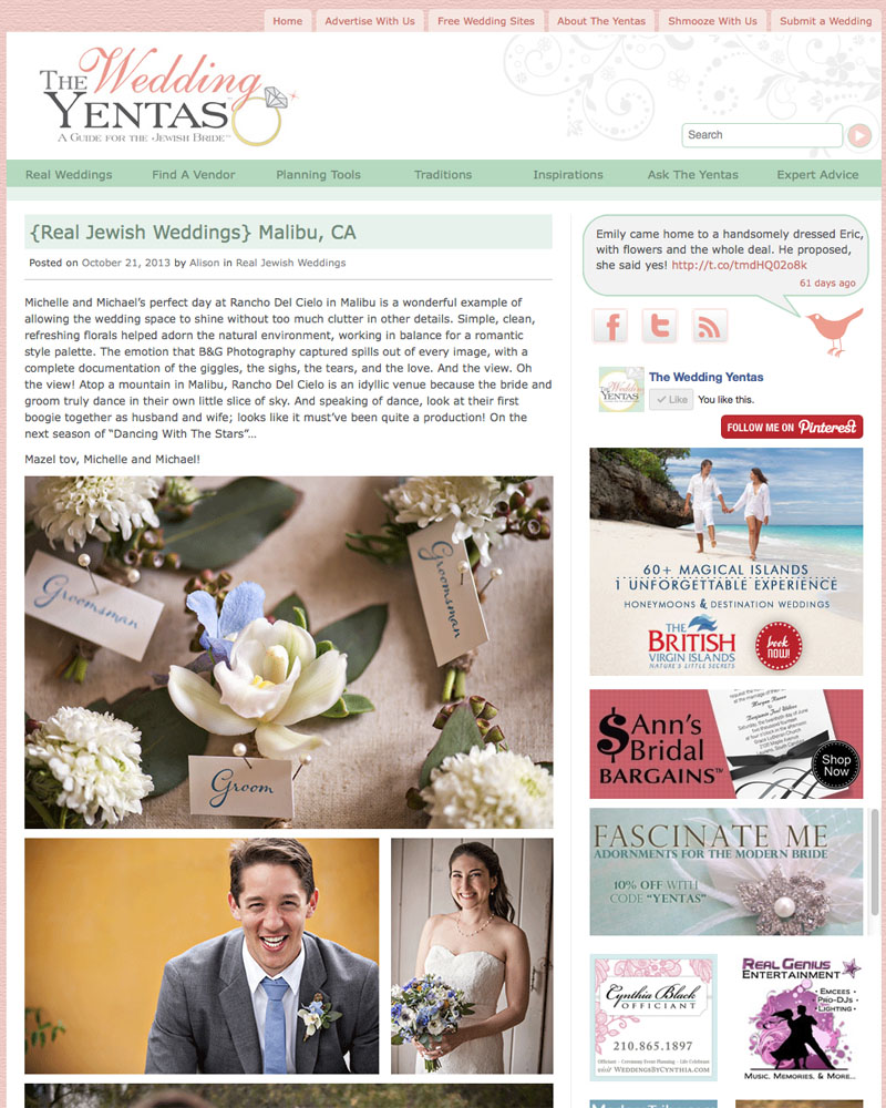 B&G Photography Jewish Malibu Weddding featured on The Wedding Yentas