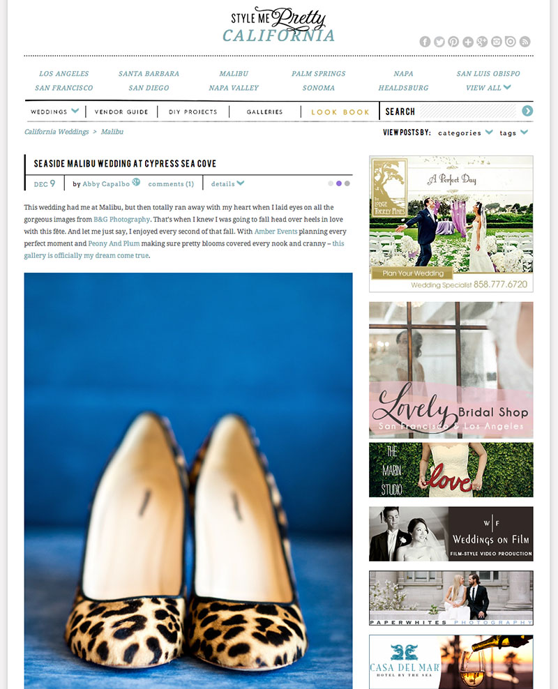 B&G PHOTOGRAPHY, Cypress Sea Cove WEDDING FEATURED oN Style Me Pretty