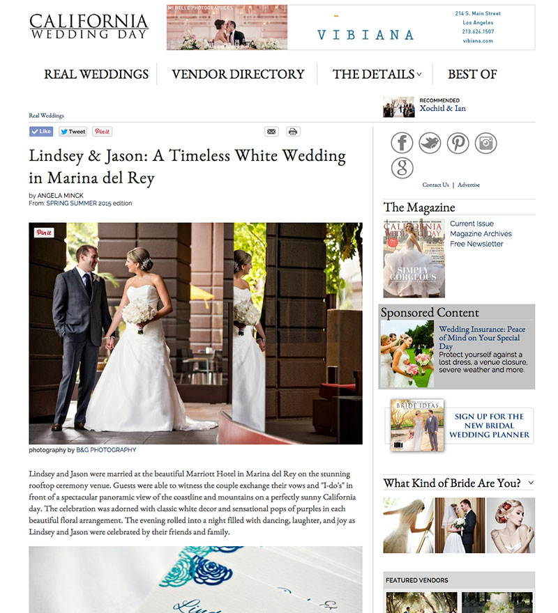 B&G Photography Featured on California Wedding Day