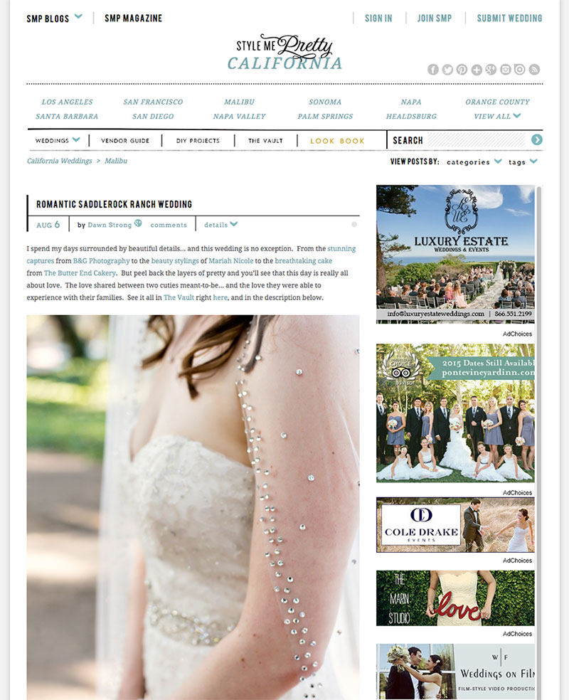 B&G Photography Saddlerock Ranch Wedding Featured on Style Me Pretty