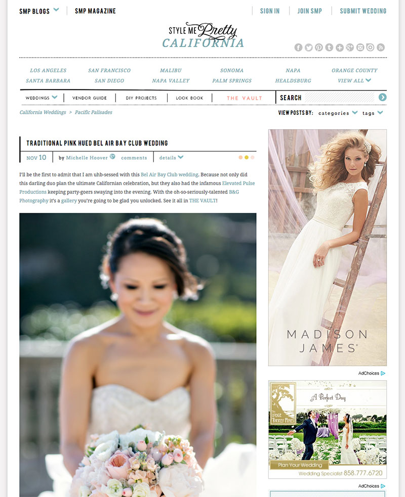 B&G Photography Bel Air Bay Club Wedding Featured on Style Me Pretty