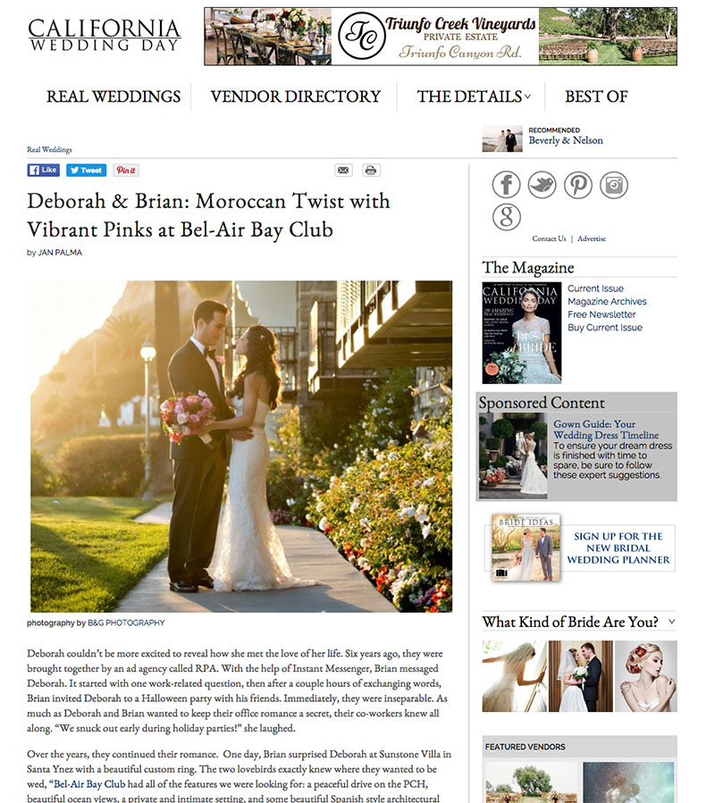 B&G Photography Bel Air Bay Club Wedding Featured on California Wedding Day