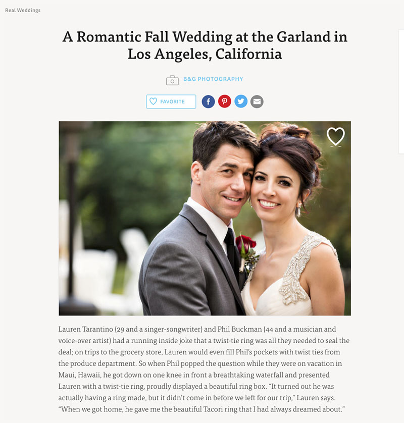 B&G Photography The Garland Wedding Featured on The Knot