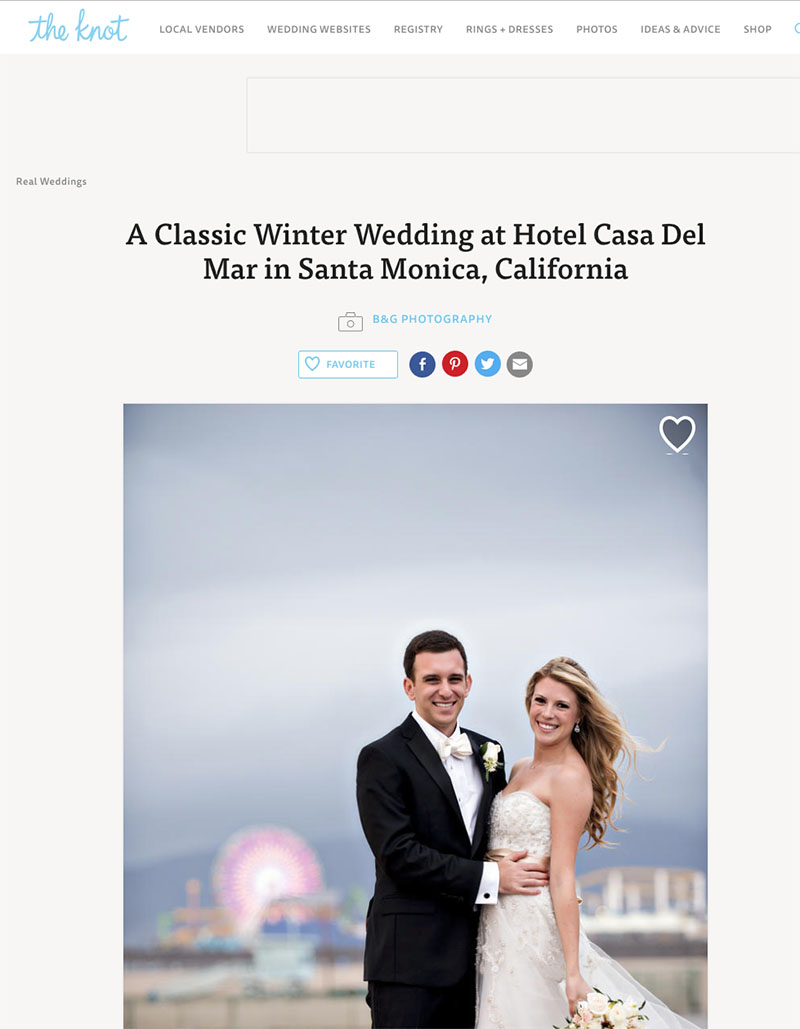 B&G Photography Casa del Mar Wedding Featured on The Knot